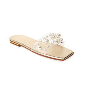 With Pearls Gold Cute Slip On Clear Open Toe Beach Footear Modern Sandals