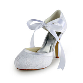 With Ankle Strap Bridal Shoes 10 cm High Heel With Bow Elegant White Lace