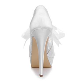 5 inch High Heel White Satin Platform Lace Stilettos Lacing Up Peep Toe Beautiful Bridals Wedding Shoes