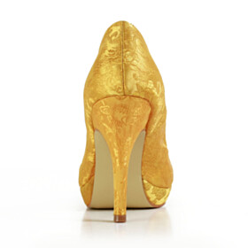 Closed Toe High Heel Gold Almond Toe Pumps Stilettos Dress Shoes