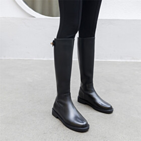 Closed Toe Comfort Black Classic Leather Boots Riding Flat Shoes