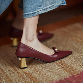 With Bow 6 cm Mid Heel Slip On Beautiful Leather Pointed Toe Beaded Burgundy Pumps Business Casual Shoes Dress Shoes