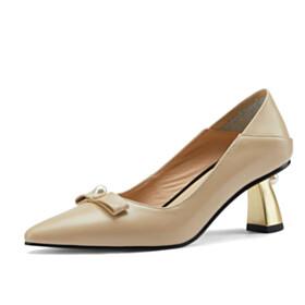 Dress Shoes 6 cm Mid Heel Beautiful Leather Pumps