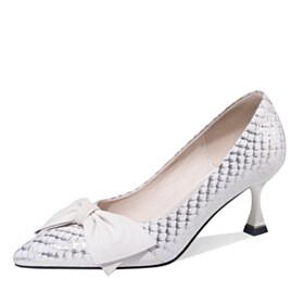 6 cm Mid Heels Slip On White Modern Bowknot Stilettos Snake Print Embossed Shoes