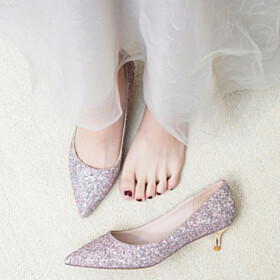 Low Heels Dress Shoes Stilettos Pink Kitten Heel Sparkly Prom Shoes Wedding Shoes For Bridal Pumps Comfort