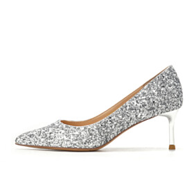 Sparkly Comfort Silver Glitter Pointed Toe Formal Dress Shoes Stiletto Prom Shoes 2021 Wedding Shoes For Bridal 3 cm Low Heel