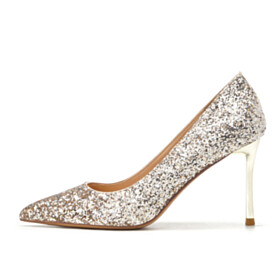 Stiletto Comfort Pumps 1 inch Low Heels Slip On Pointed Toe Gold Formal Dress Shoes Kitten Heel Prom Shoes Bridals Wedding Shoes