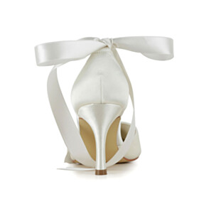 Elegant Rhinestones With Bow With Ankle Strap High Heels Stiletto Dress Shoes