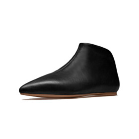 Vintage Leather Pointed Toe Ankle Boots Comfort Flats
