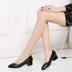 Classic Low Heeled Leather Chunky Pumps Red Bottoms Black
