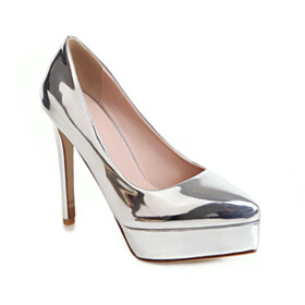 Silver Sparkly 11 cm High Heeled