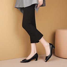 Pumps Leather Low Heel Kitten Heel Business Casual Shoes