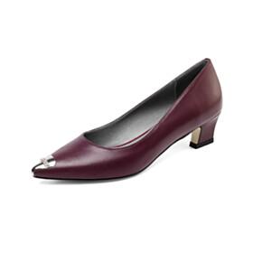 Pointed Toe Classic Comfortable Low Heel Full Grain Pumps Business Casual Kitten Heel