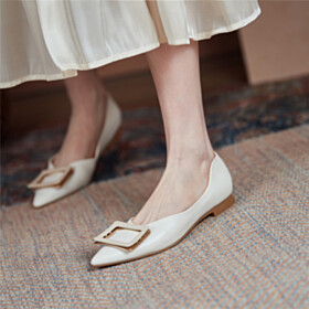 Pointed Toe Ballerinas Shoes White Business Casual Shoes Slip On Slip On Beautiful Comfort Flats Leather