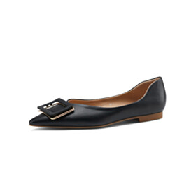 Womens Shoes Pointed Toe Black Slip On Business Casual Ballerina Leather Flat Shoes