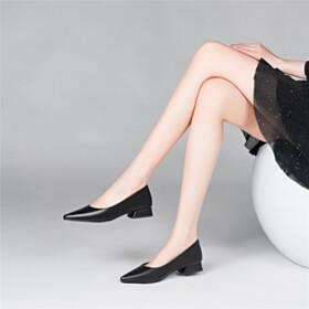 Block Heels Slip On Pumps Leather Black Full Grain 3 cm Low Heel
