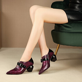 Chunky Pointed Toe Sculpted Heel Shooties Faux Leather Snake Printed Burgundy Womens Shoes 6 cm Mid Heels