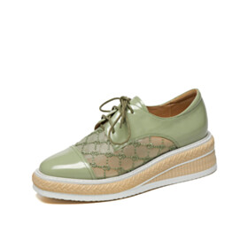 Flat Shoes Oxford Shoes Mint Green Clear Comfortable Closed Toe