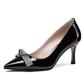 With Rhinestones Elegant Pumps With Bow Classic Stiletto Black High Heel Pointed Toe