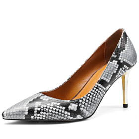 Pointed Toe Business Casual 3 inch High Heel Natural Leather Classic 2021 Spring Stilettos Gray Snake Print Pumps