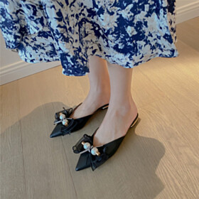 Mules Comfort With Pearl Business Casual Sandals Flat Shoes Pointed Toe Cute