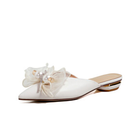 Pointed Toe With Bowknot Comfort Mules Flat Shoes Leather White With Pearl