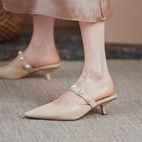 Stiletto Leather Sandals For Women Kitten Heel Beige 2 inch Low Heel Comfort Elegant Business Casual Mules Pearls