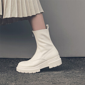 Classic Closed Toe Ankle Boots Flat Shoes Leather Winter
