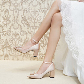 Bridal Shoes Party Shoes Block Heels Pumps With Ankle Strap Pointed Toe 7 cm Mid Heels