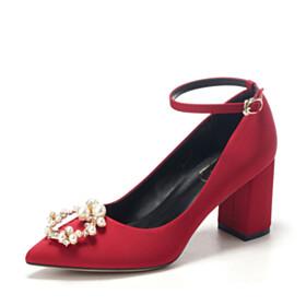 Burgundy Pointed Toe Block Heels Pumps Mid Heel