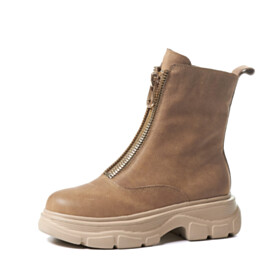 Platform Heel Comfortable Leather Booties Round Toe 2021