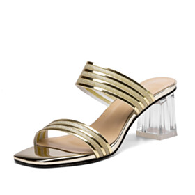 Sparkly Sandals Mules 6 cm Mid Heel Glitter Modern Gold Chunky Hee Dress Shoes Clear Block Heels