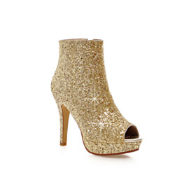 Party Shoes Peep Toe Stiletto Glitter Ankle Boots 11 cm High Heel