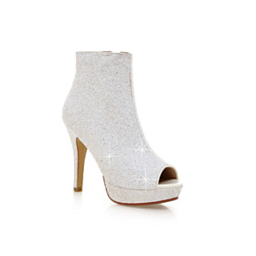 Stiletto Booties 11 cm High Heels Party Shoes Sparkly Glitter Peep Toe