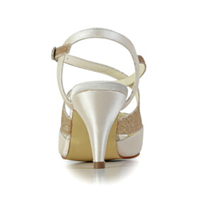 Beautiful Stilettos 2020 Open Toe Sequin 6 cm Mid Heel Champagne Wedding Shoes For Women