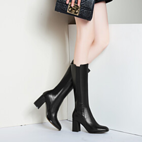 Going Out Shoes Mid Calf Boots Mid Heel Chunky Block Heels Faux Leather Black Leather Vintage