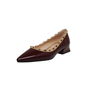Thick Heel Going Out Shoes Pumps Leather Block Heels Burgundy Low Heel