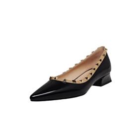 Black Thick Heel Pointed Toe Leather 2021 Studded Block Heels Pumps 3 cm Low Heel