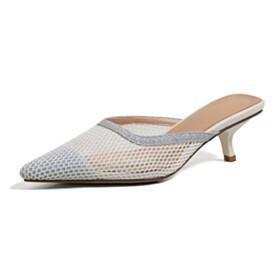 Sandals Tulle Summer Kitten Heel Stiletto Heels White Mules Sparkly