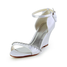 Wedge Bridal Shoes Platform Heel Beautiful Ankle Strap 7 cm Heel Formal Dress Shoes 2020 Satin White Summer Peep Toe