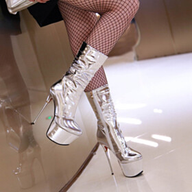 Fashion Classic Over 6 inch High Heel Closed Toe PU Boots Platform Heel 2020 Red Sole Round Toe Silver