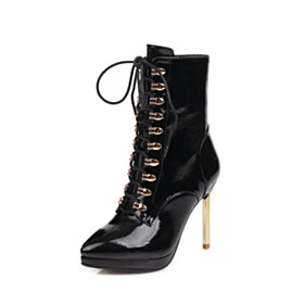 Ankle Boots 4 inch High Heel Stilettos Classic Faux Leather Shoes