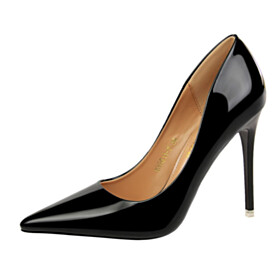 Sexy 10 cm High Heels Metallic Shoes Pointed Toe Pumps Stiletto Black