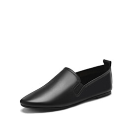 Black Round Toe Grained Slip On Slip On Comfortable
