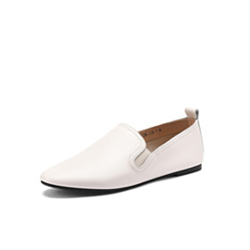White Comfort Leather Flats