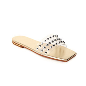 Square Toe Cute Peep Toe Sandals Transparent Flat Shoes Slipper Bohemian Studded Beach Gold