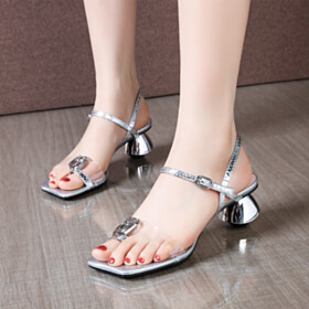 Beautiful With Metal Jewelry Strappy Low Heeled Leather Chunky Silver Metallic Sandals For Women