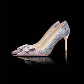 Slip On Ombre Silver Pumps High Heels Sequin Wedding Shoes For Bridal Sparkly Party Shoes Pointed Toe Womens Shoes