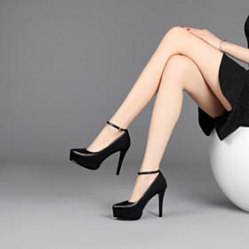 Platform Red Bottoms Stilettos Pumps Grained Classic Slip On Leather With Ankle Strap Black 11 cm High Heel Closed Toe