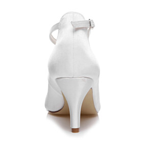 White Pointed Toe 3 inch High Heel Ankle Strap With Bow Pearls Wedding Shoes For Bridal Dress Shoes